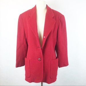 Forenza Vintage Red Coat Cashmere Wool Button Up